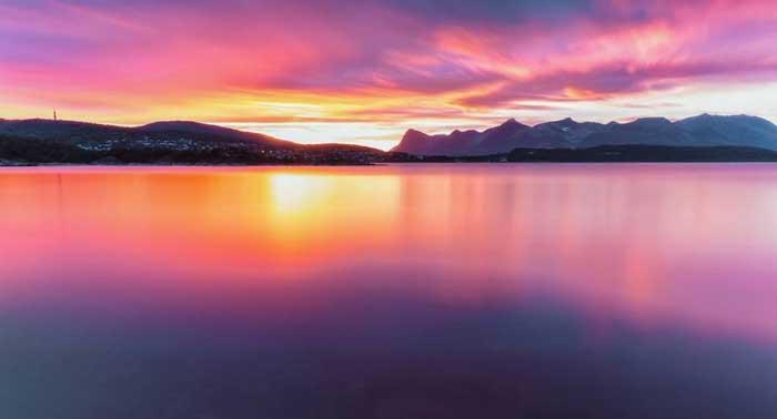 دریا غروب خورشید ساحل نروژ